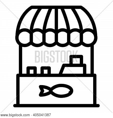 Fish Floating Market Icon. Outline Fish Floating Market Vector Icon For Web Design Isolated On White