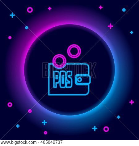 Glowing Neon Line Proof Of Stake Icon Isolated On Black Background. Cryptocurrency Economy And Finan