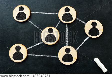Organisation Structure And Social Network Concept. Connected By Lines Figurines.