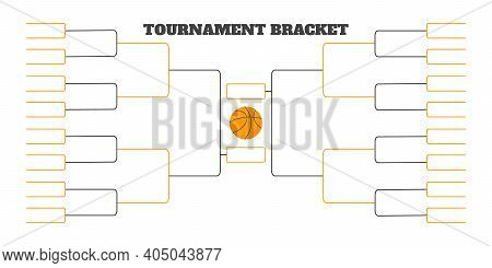 32 Team Tournament Bracket Championship Template Flat Style Design Vector Illustration Isolated On W