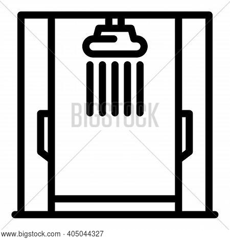 Shower Stall Interior Icon. Outline Shower Stall Interior Vector Icon For Web Design Isolated On Whi