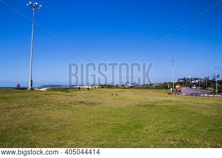 Grassy Area Before Sand At Durban Beach, South Africa