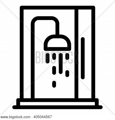 Care Shower Stall Icon. Outline Care Shower Stall Vector Icon For Web Design Isolated On White Backg