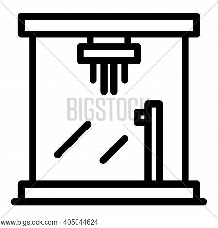 Hot Shower Stall Icon. Outline Hot Shower Stall Vector Icon For Web Design Isolated On White Backgro