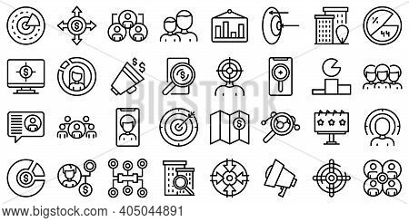 Target Audience Icons Set. Outline Set Of Target Audience Vector Icons For Web Design Isolated On Wh