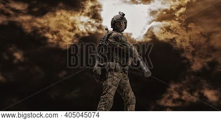 Image Of A Special Forces Soldier Swinging An Assault Ram. Swat Concept. Anti-terrorism, Fight Again
