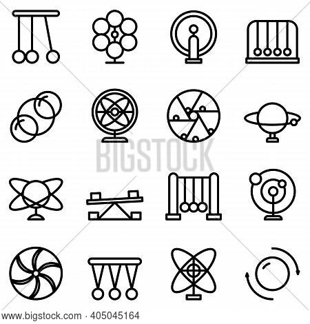 Perpetual Motion Icons Set. Outline Set Of Perpetual Motion Vector Icons For Web Design Isolated On