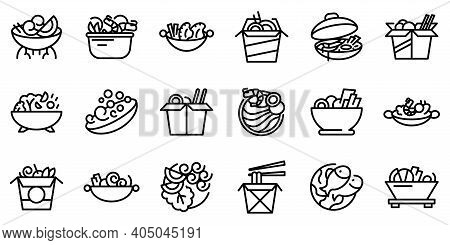 Wok Menu Icons Set. Outline Set Of Wok Menu Vector Icons For Web Design Isolated On White Background