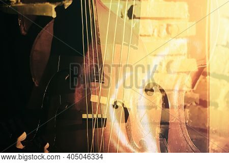 Close-up Of Double Bass On A Brick Wall Background, Double Exposure Music Art Poster
