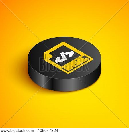 Isometric Line Html File Document. Download Html Button Icon Isolated On Yellow Background. Html Fil