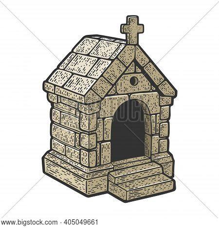 Stone Burial Crypt Tomb Vault Color Sketch Engraving Vector Illustration. T-shirt Apparel Print Desi