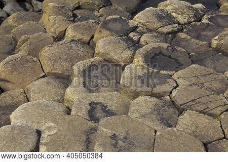 Ulster (ireland), - July 20, 2016: Polygonal Basalt Lava Rock Columns Of The Giant's Causeway On The