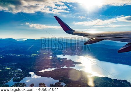 View From An Airplane To Fjords In Norway