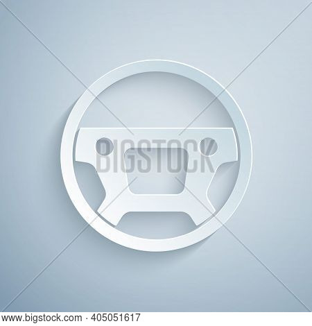 Paper Cut Steering Wheel Icon Isolated On Grey Background. Car Wheel Icon. Paper Art Style. Vector