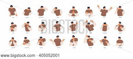 Set Of Different Emotions Of People. Man Expressing His Positive And Negative Feelings With Gestures