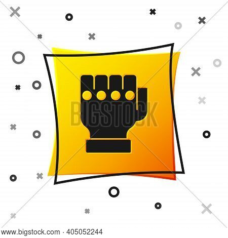 Black Mma Glove Icon Isolated On White Background. Sports Accessory Fighters. Warrior Gloves. Yellow