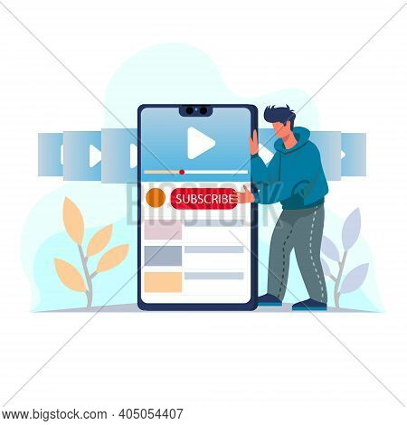 Video Subscribe For Video Blogging Site Illustration Concept Vector