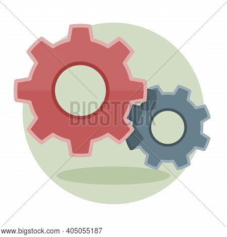 Gears, Settings Or Cogwheel Icon In Flat Design. Vector Graphic Illustration