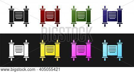 Set Decree, Paper, Parchment, Scroll Icon Icon Isolated On Black And White Background. Chinese Scrol