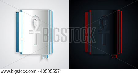 Paper Cut Cross Ankh Book Icon Isolated On Grey And Black Background. Paper Art Style. Vector