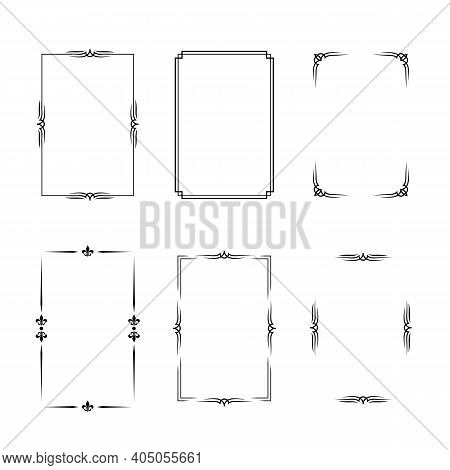 Set Of Black Vintage Borders In Silent Film Or Art Deco Style Isolated On White Backgrounds. Vector