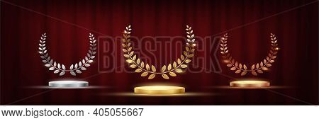 Golden, Silver And Bronze Award Signs With Podiums Laurel Wreath Isolated On Red Waving Curtain Back