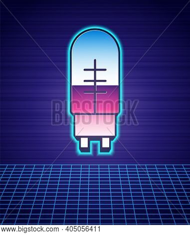Retro Style Light Emitting Diode Icon Isolated Futuristic Landscape Background. Semiconductor Diode