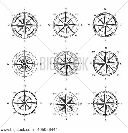 Wind Rose Set. Monochrome Cartography Symbol With Orientation Parts Of World Nautical Vintage Star F