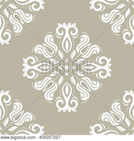 Classic Seamless Pattern. Damask Orient Ornament. Classic Vintage Background. Orient Ornament For Fa