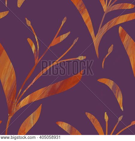 Seamless Pattern With Hand-drawn Shining Orange Gradient Branches On Purple Background. Linen, Bedcl