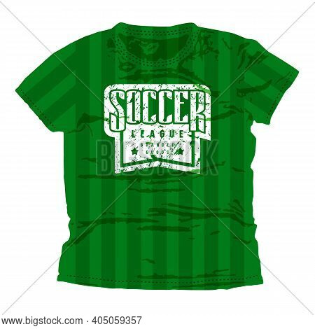 Soccer Superior League Emblem. Graphic Design For T-shirt. White Print On Green Wear