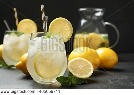 Natural Lemonade With Mint On Grey Table. Summer Refreshing Drink