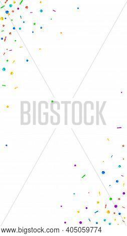 Festive Juicy Confetti. Celebration Stars. Festive Confetti On White Background. Fine Festive Overla