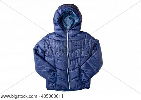 Winter Jacket Isolated. A Stylish Cosy Warm Blue Down Jacket For Kids Isolated On A White Background