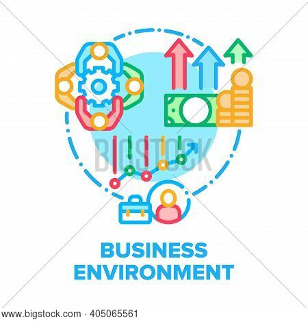 Business Environment Team Vector Icon Concept. Office Business Environment And Teamwork, Growth Mone