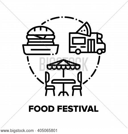 Food Festival Vector Icon Concept. Burger And Pizza, Truck For Cooking Delicious Nutrition And Table