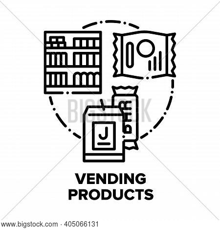Vending Products Vector Icon Concept. Vending Products Juice And Chocolate Bar, Cookies Or Cereal He