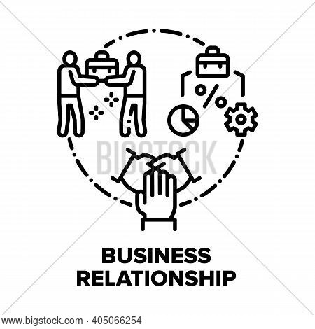 Business Relationship Team Vector Icon Concept. Colleagues Relationship And Teamwork, Analyzing Work
