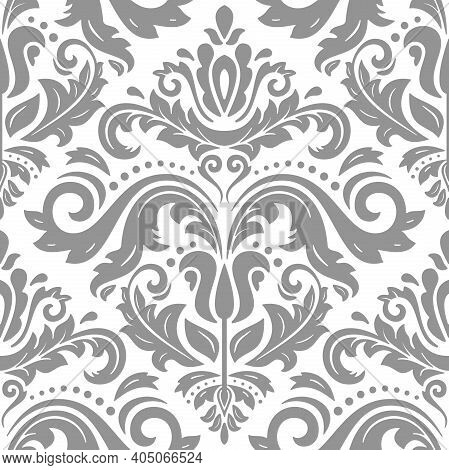 Classic Seamless Vector Silver Pattern. Damask Orient Ornament. Classic Vintage Silver Background. O