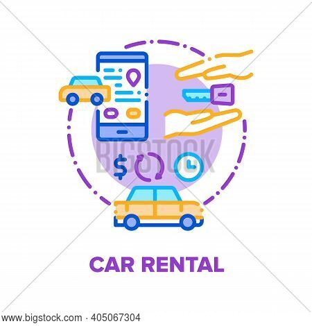 Car Rental Service Company Vector Icon Concept. Vehicle Business For Rent Automobile And Travel, Pho