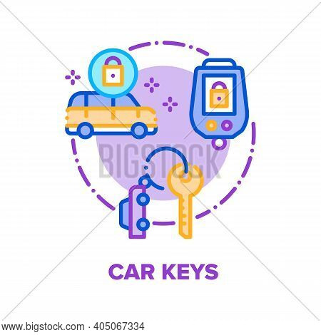 Car Keys Trinket Vector Icon Concept. Vehicle Keys With Alarm Security System, Electronic Remote Con