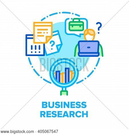 Business Research Analysis Vector Icon Concept. Manager Researching Job Market And Analyzing Profit