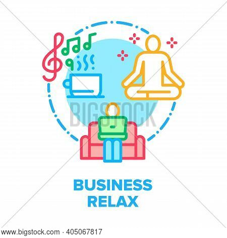Business Relax Vector Icon Concept. Businessman Working On Comfortable Sofa With Laptop, Drink Bever