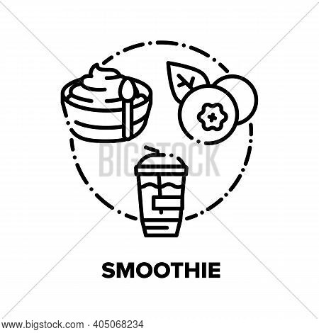 Smoothie Drink Vector Icon Concept. Strawberry And Blueberry Smoothie, Delicious Dairy Bio Dessert,