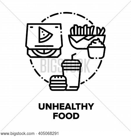 Unhealthy Food Vector Icon Concept. Burger And Drink, Fried Potato With Sauce And Pizza, Restaurant