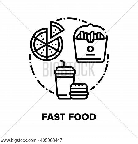 Fast Food Eat Vector Icon Concept. Burger And Soda Drink, Pizza And Fried Potato Unhealthy Street Fo