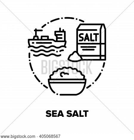 Sea Salt Vector Icon Concept. Ship Floating In Ocean, Harvesting And Transportation Mineral, Salt In