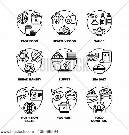Food And Drink Set Icons Vector Black Illustrations. Healthy And Fast Food, Sauce Ad Sea Salt, Bread