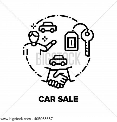 Car Sale And Buy Vector Icon Concept. Car Selling Deal Customer With Dealer In Dealership Office, Ha