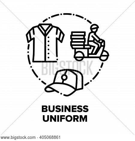 Business Uniform Vector Icon Concept. Delivery Service Worker Uniform And Hat, Man On Motorbike Deli